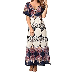 Small-shop Women's V Neck Tunic Side Open Belt Printing Long Maxi Dress,Large