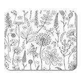 Emvency Mouse Pads Drawn Wildflowers Black and White Doodle Wild Flowers Grass Monochrome Floral Sketch Hand Mousepad 9.5' x 7.9' for Laptop,Desktop Computers Office Supplies Mouse Mats
