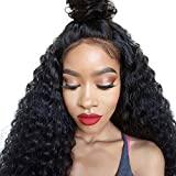 Cici Collection 360 Lace Frontal Wig Pre Plucked Bleached Knots 180% Density Lace Front Human Hair Wigs For Women 360 Lace Wig Lace Front Wigs Human Hair with Baby Hair(16inch, Deep Curly)