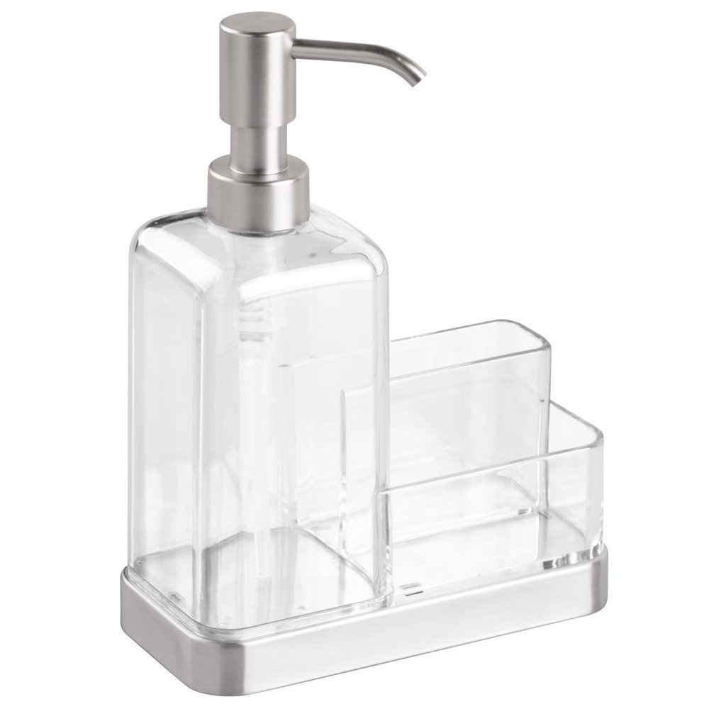Amazon.com: InterDesign Forma Kitchen Caddy With Soap Dispenser Pump U0026  Scrubby   Clear/Brushed Stainless Steel: Home U0026 Kitchen