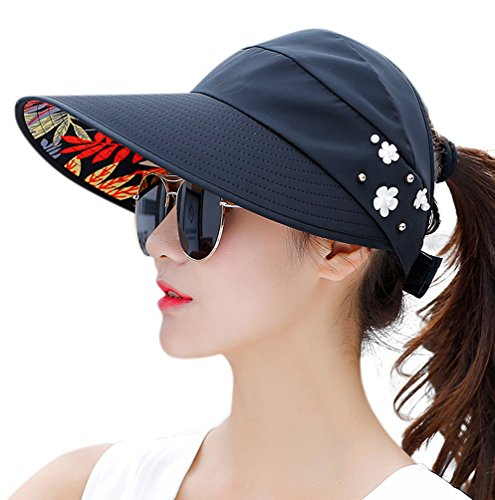 HINDAWI Sun Hats for Women Sun Hat Wide Brim UV Protection Summer Beach Foldable Visor Black