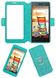 Acm SVIEW Window Designer Rotating Flip Flap Case for Micromax Bolt Q332 Mobile Smart View Cover Stand Turquoise