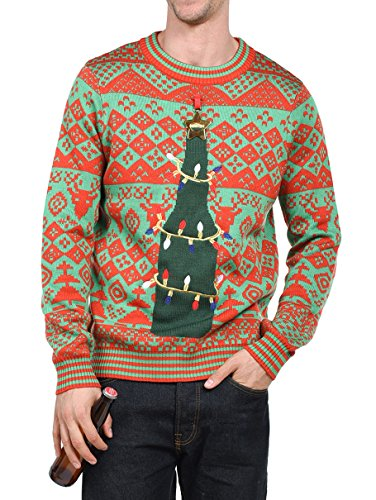 Tipsy Elves Men's Functional Bottle Opener Christmas Sweater - Funny Ugly Christmas Sweater