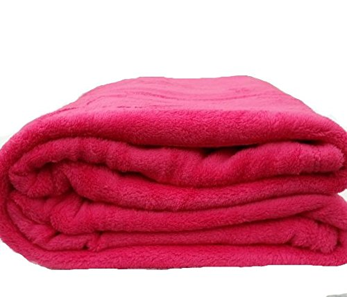 Coral Fleece Super Soft Solid Throw Blankets (Queen, Hot Pink) (Pink And Light Blue Bedding compare prices)