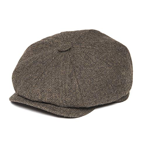 BOTVELA Men's 8 Piece Wool Blend Newsboy Flat Cap Herringbone Pattern in Classic 5 Colors (Khaki, S) -