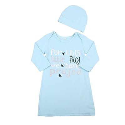 Newborn Baby Boys Long Sleeve Cotton Sleeper Grown with Hat Sleepwear Set
