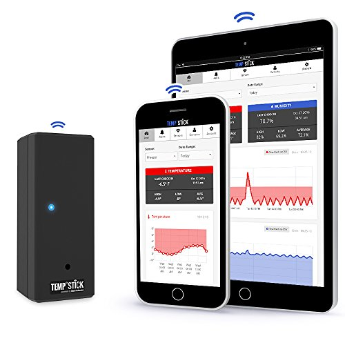 Wireless Monitoring Temperature (Temp Stick Wireless Temperature Sensor + 24/7 Monitoring, Alerts & Unlimited Historical Data. Connects Directly to WiFi. Free iPhone and Android Apps. Check-In From Anywhere! - Black)