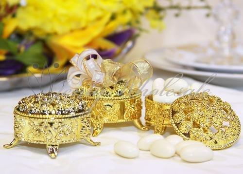 2.5 Plastic Trinket Box Wedding Favor Table decorations-Gold (12 Pieces)