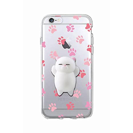 promo code f62c4 9f10e Cover iPhone 7, Squishy 3D Animal Animale Cat Gatto iPhone 7 Case, Cute  Stress Silicone Fun kawaii Case Cover Custodia for iPhone 7 (Color-D)