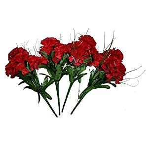 MM TJ Products Artificial Carnation Bush: 7 Stems Pack of 4 (Red) 27