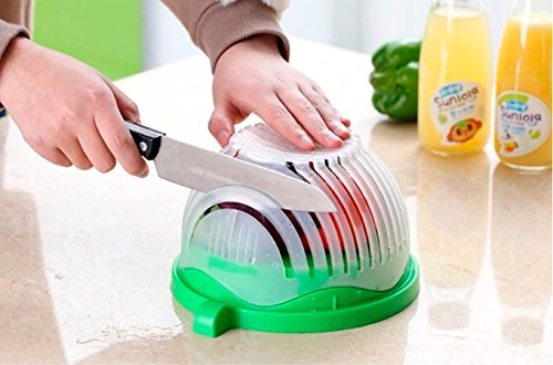 Salad Cutter Bowl + FREE 3 in 1 Avocado Peeler Tool  Fruit & Vegetable Quick Chopper Set, Veggie Slicer   Can Be used as Strainer and Cutting Board   Dishwasher Safe, BPA Free, Food Grade Material by toshi's kitchen (Image #4)