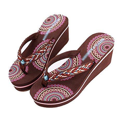 Tacón Yingsssq uk Alto B Rosado 5 De Us Zapatillas color Pendiente 5 Casual 35 5 Playa Tamaño 3 Brown Antideslizante Mujer Eu Fondo Chanclas Grueso xxBS8q0