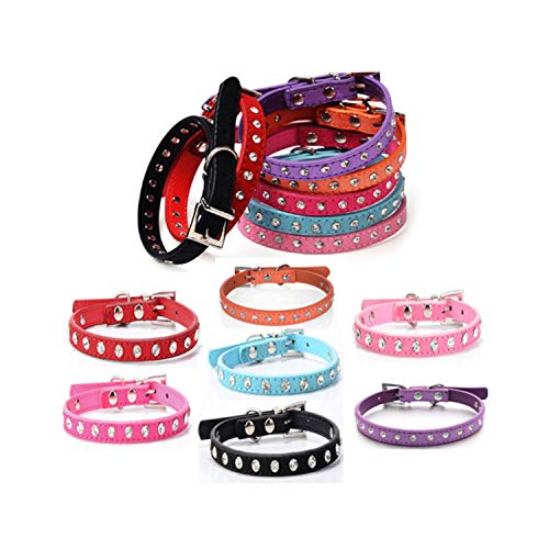 ZZmeet Diamond Crystal Cool Leather Dog Collars Small Dogs 7 Color Cashmere Cattle Collars for Pets cat Dog Leads cat ()