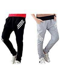 Boys Pants Sports Cotton Boy Pants Elastic Waist With Printing White Stripes