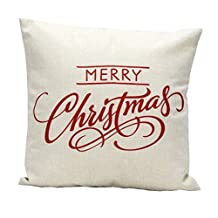 Lowpricenice(TM) Vintage Home Bed Sofa Cars Decoration Linen Blend Christmas Festival Letter Pillow Case Cushion Cover Pillowcase (White)