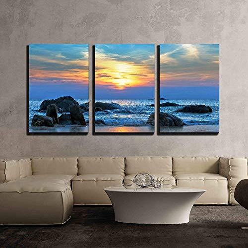 (wall26 - 3 Piece Canvas Wall Art - Sunset Over The Sea - Modern Home Decor Stretched and Framed Ready to Hang - 24