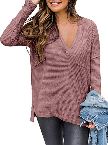 PINKMSTYLE Womens Long Sleeve V Neck Shirts Off Shoulder Waffle Knit Pullover Sweaters Tee Tops