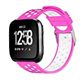 Alonea Fitbit Versa Watch Band, Replacement Sport Silicone Classic Band Strap Wristband For Fitbit Versa (Hot Pink❤️)