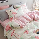 Boys Girls Cartoon Flamingo Duvet Cover Set Queen Size , 100% Cotton Student Bedding Set Included 1 Duvet Cover Set, 2 Pillow Shams, 1 Flat Sheet