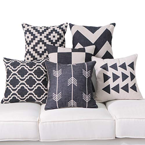 DEZENE Black Throw Pillow Covers for Couch - Set of 6 - Decorative Linen Sofa Square Cushion Pillow-Cases,18 x 18 inch,Geometric Aztec and Morrocan Patterns ()