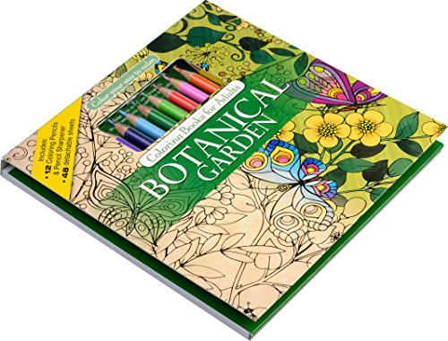 Botanical Garden Adult Coloring Book Set With 24 Colored