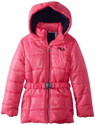 Fila Big Girls'  Belted Fleece Lined Puffer Coat, Pink Glow, 7/8 (Fila Girls Clothes)