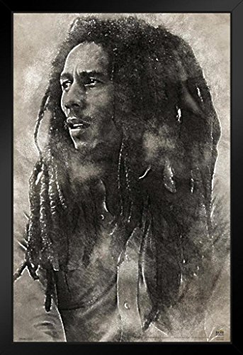 Pyramid America Bob Marley Conquering Lion Music Framed Poster 14x20 inch