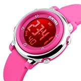 Digital Kids Watch Band with Hourly Chime, Stopwatch, Daily Alarm & Calendar, Water Resistant 30M (Pink Rose Red)