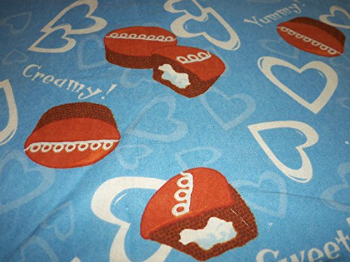 Chocolate Cupcakes Food Fabric With Creme Filling Flannel Blue Background With White Hearts New Fat Quarter BTFQ