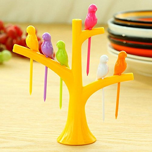 Naladoo Birds On The Tree Birdie Fruit Fork Birds On The Tree Dessert Cake Dinnerware Party Cocktail (Bird Fork)