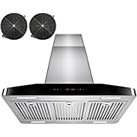 AKDY® 30 Stainless Steel 4 LED Light Bars Touch Control Panel Island Mount Kitchen Vents Ductless Range Hood