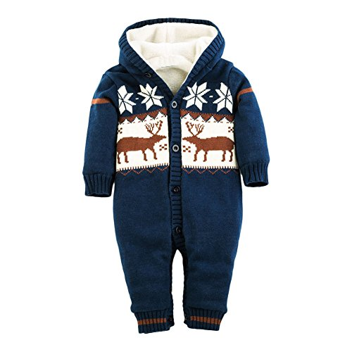LSERVER Infant Newborn Baby Christmas Sweater One Piece Reindeer Knit Hooded Jumpsuit For Winter Dark Blue (Winter One Piece)