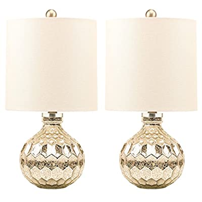 Set of 2 Contemporary Mercury Glass Lamp,Hand Crafted Hexagon Pattern Table Lamps with White Linen Drum Shade, Harp Construction Silver Accent Lamps, E26 Medium Base.