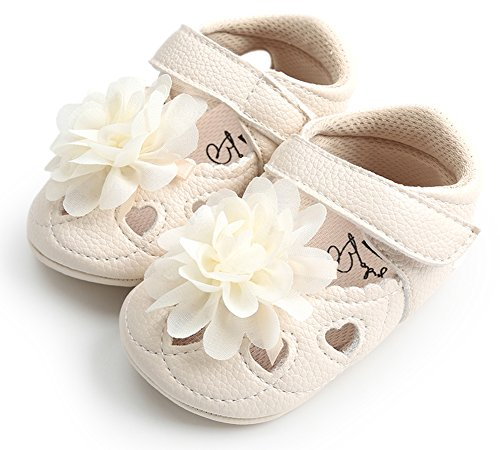Baby Infant Girls Flower Sandals Sole Non-Slip Outdoor Toddler First Walkers Shoes (13cm, Nude White Flowers)
