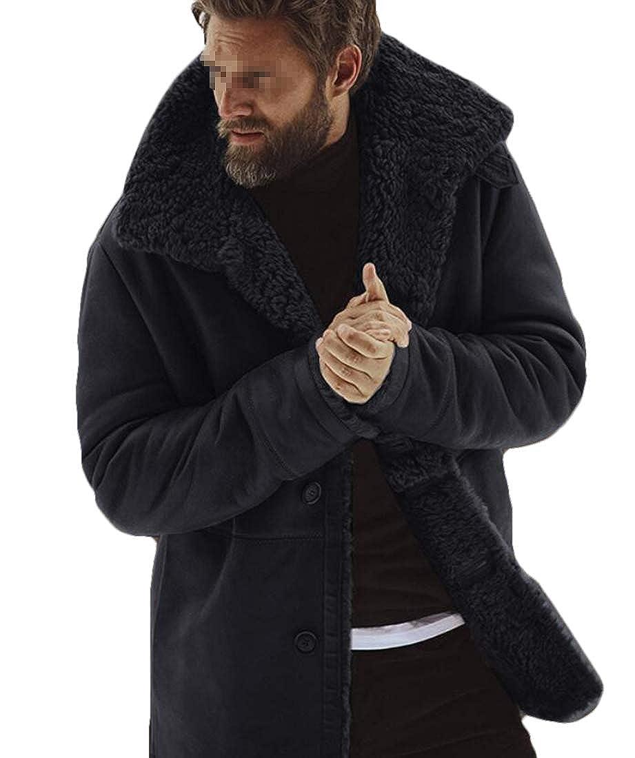 X-Future Mens Thicken Single Breasted Fleece Linen Outwear Down Jacket Coat