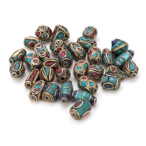 - Pandahall 50PCS Mixed Antique Golden Handmade Tibetan Style Beads, Brass with Imitation Coral and Turquoise