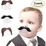 3Pcs Cute Gentleman Mustache Pacifier for Baby, Newborn Infant Pacifier Gift BPA Free Latex Free made With Silicone (B)