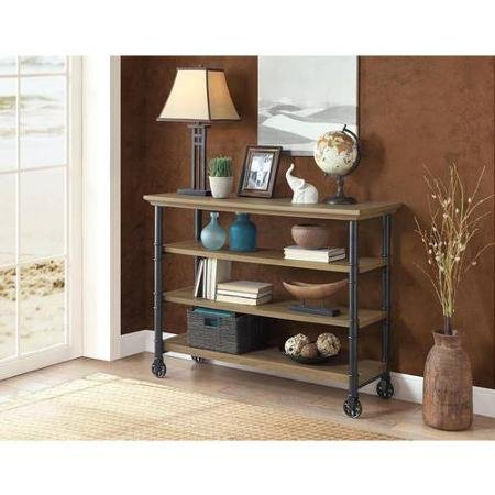 Modern Classic Design Generic Whalen Santa Fe Kitchen Cart with Wine Rack Rustic Brown Finish, Brown