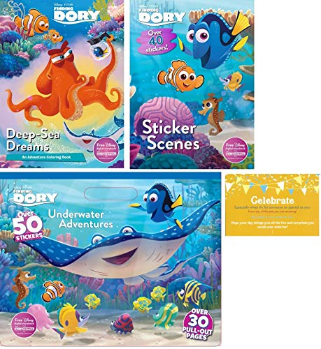 """Disney Finding Dory Coloring Experience Bundle, 3 Finding Dory Coloring Books (Sticker Scenes, Deep - Sea Dreams Coloring Bookand Coloring Pad) and """"Celebrate"""" Post Card"""