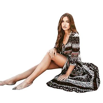 Keepfit Bohemian Long Maxi Dresses Half Sleeve Tunic Sundress for Women: Clothing