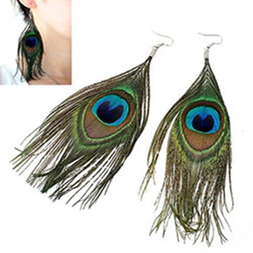 HIRIRI Fashion BOHO Style Peacock Feather Silvery Hook Women's Dangle Earrings Eardrop (Multicolor)