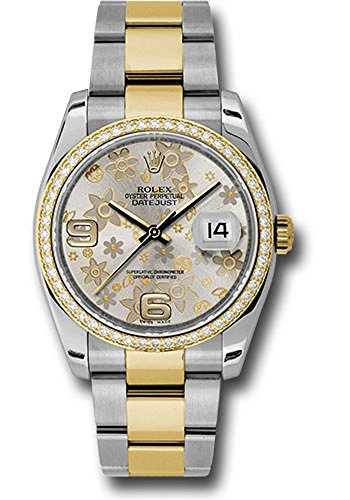 Rolex Datejust 36MM Stainless Steel Case, 18K Yellow Gold Bezel Set With 52 Brilliant-Cut Diamonds, Silver Floral Dial, Arabic Numeral, And Stainless Steel And 18K Yellow Oyster Bracelet.