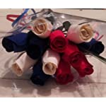 Patriotic-Holdiday-Flowers-1-Dozen-RED-WHITE-and-BLUE-Wooden-Roses-Fourth-of-July-Memorial-Day-Presidents-Day-by-wooden-Roses