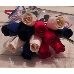 Patriotic Holdiday Flowers 1 Dozen RED, WHITE, and BLUE Wooden Roses Fourth of July Memorial Day Presidents Day. by wooden Roses 1