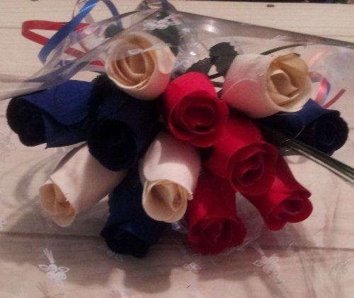 (Patriotic Holdiday Flowers 1 Dozen RED, WHITE, and BLUE Wooden Roses Fourth of July Memorial Day Presidents Day. by wooden Roses)