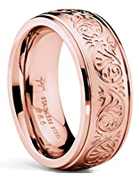 RoseTone Pink Women's Stainless Steel Ring Wedding Band with Engraved Florentine Design 7mm Comfort Fit