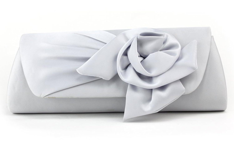 MedzRE Women's Silver White Rose Flower Evening Dress Clutch Bag Purse