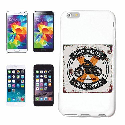 """cas de téléphone iPhone 6+ Plus """"SPEEDMASTER VINTAGE PUISSANCE BIKER SHIRT MOTO CHOPPER MOTO GOTHIQUE SKULL MOTO CLUB BIKE ROUTE 66"""" Hard Case Cover Téléphone Covers Smart Cover pour Apple iPhone en b"""