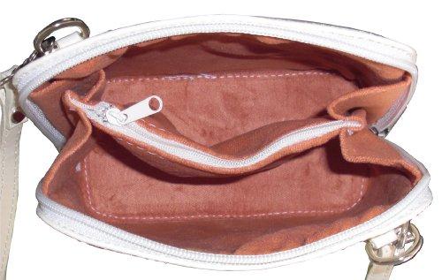 Primo Sacchi® Italienisches Leder handgefertigt klein/Micro Cross Body Bag oder Umhängetasche Handtasche. Beinhaltet eine schützenden Aufbewahrungstasche gebrandmarkt. Creme