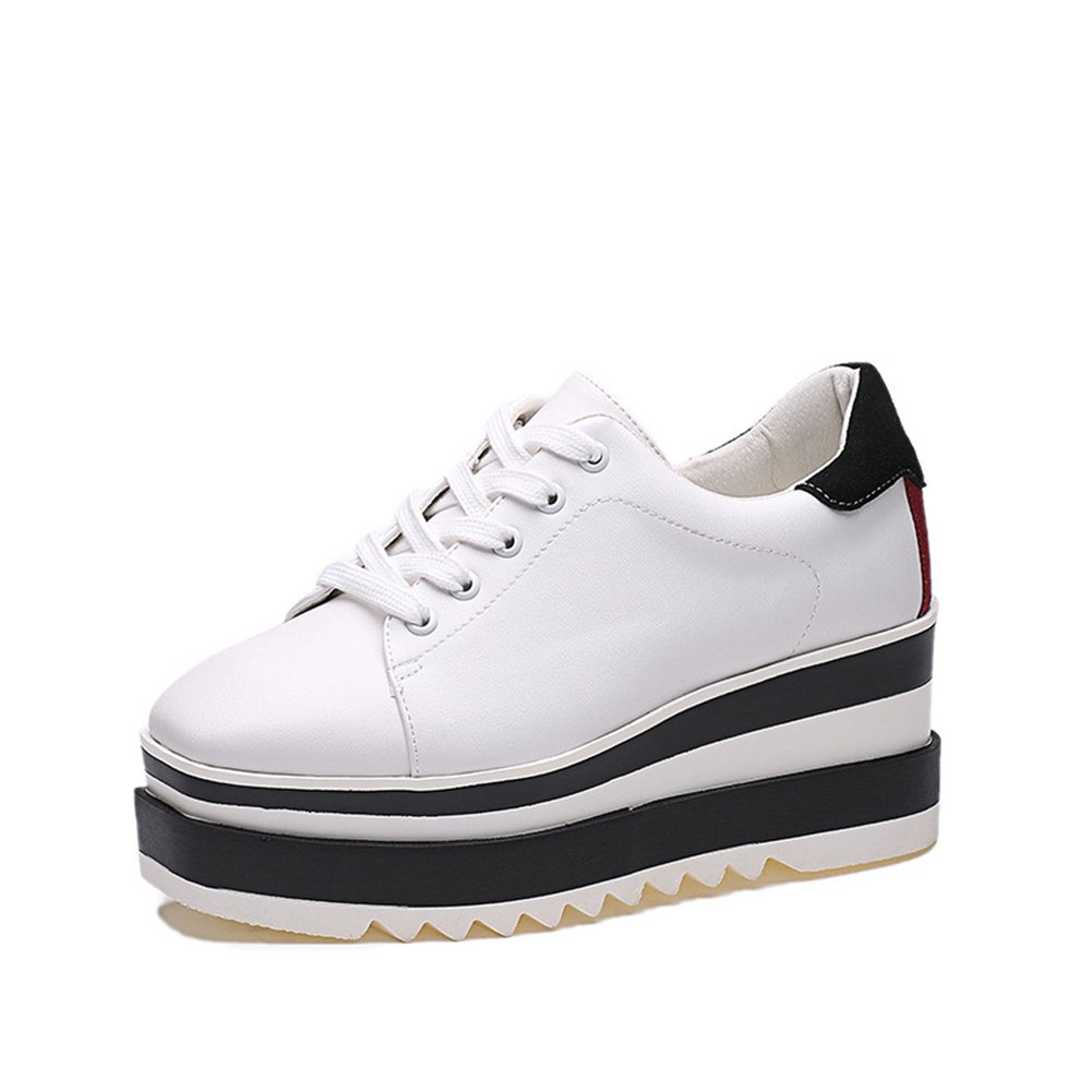 Btrada Women Casual Thick Bottom Shoes Lace-up Non-Slip High Hidden Black and White Sneaker Shoes